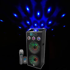"NYC Acoustics N215A Dual 15"" 800w Powered DJ Party Speaker Bluetooth, Lights+Mic"