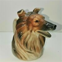 1940 Ceramic Collie Lassie Dog Head Creamer Pitcher Planter Excellent Condition