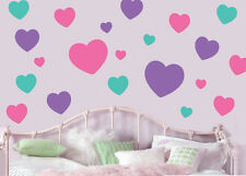 Pastel Hearts Pack of 22 Wall Art Stickers Easy Peel & Stick Love Decals Murals