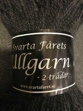 Svarta Farets Ullgarn 2 ply dark gray 100% wool yarn 100g 300m