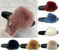 Mens Women Slipper Fluffy Fur Warm Slip-on Comfy Styles Indoor Bedroom Size Sale