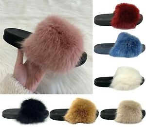 Mens Women Slipper Fluffy Fur Warm Slip-on Comfy Styles Indoor Bedroom Size Sale