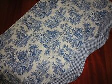 WAVERLY CHARMED LIFE TOILE FLORAL GINGHAM CORNFLOWER BLUE 15 X 52 COUNTRY