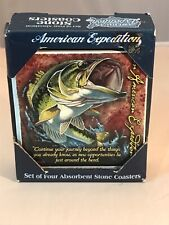 American Expedition 4 Piece Square Stone Set Coaster Largemouth Bass New In Box