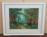 DIPINTO olio su tela Paesaggio Boschivo Bosco e figura Natura Quadro con Cornice