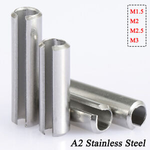 Slotted Spring Tension Pins Roll Pin Ø 1.5mm-3mm A2 304 Stainless Steel DIN 1481