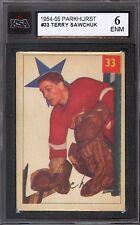 1954-55 PARKHURST HOCKEY #33 TERRY SAWCHUK KSA 6 EX-NM DETROIT RED WINGS CARD