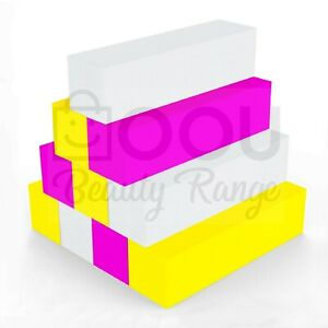 NAIL BUFFER ACRYLIC SANDING BLOCK FILES WHITE, PINK & YELLOW SALON ART WASHABLE