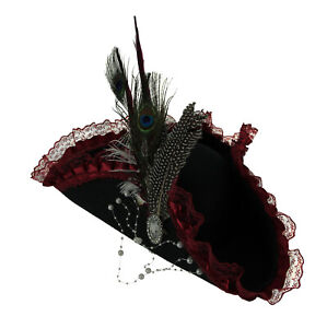 Ladies Black and Red Lace Feather Tricorn Pirate Hat
