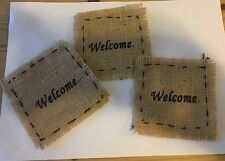 Burlap Patch With Welcome Design, Set Of 3