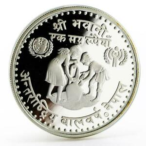Nepal 100 rupees International Year of the Child proof silver coin 1981