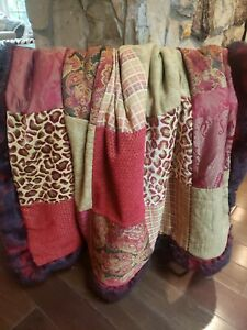 Handmade Throw Blanket Patchwork Luxe Upholstery Grade With Faux Fur
