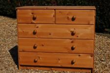 Natural Pine Five Drawer Bedroom Chest of Drawers Two over Three