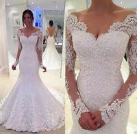 White Ivory Long Sleeve Mermaid Lace Applique Wedding dress Bridal Wedding Gowns
