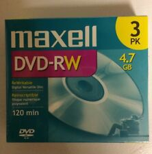 Maxell DVD-RW ReWritable 3 pk 4.7 GB 120 Min New Sealed