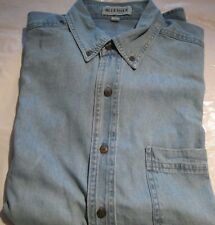 Men's Denim Shirt Blue Issue Medium Lite shade long sleeve Pocket 100 % Cotton