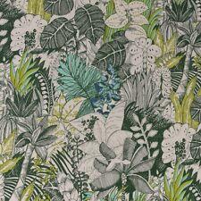 Gardinenstoff Baumwollstoff Palmen Blätter natur grün Töne 1,40m Breite