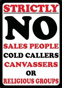 Strictly No Sales People Cold Callers Canvassers Sign 7x10cm Door Safety Sticker