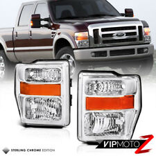F250 F350 F450 F550 FORD 2008-2010 Superduty Chrome Amber Head Lights Lamps PAIR