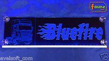 """Großes LED Schild LKW Truck """"Bluefire"""" Wunschtext Flammen 12 o. 24V blau ©faunz"""