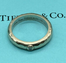 Tiffany & Co. Paloma Picasso 18k white gold hammered ring with diamond