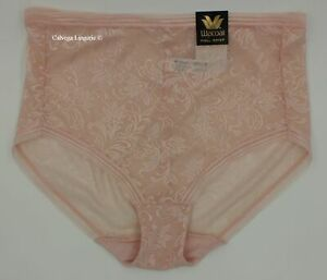 """NWT Wacoal 875340 """"Net Effect"""" Mesh with Lace Full Brief Panty, Pink (685)"""