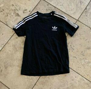 Boys Adidas Solid Black Short Sleeve T-Shirt Size M