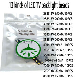 130pcs/lot 13 kinds of cool white led repair for led lcd tv backlight bar hot