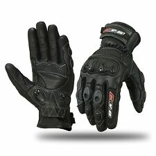 Motorcycle Motorbike Gloves Biker Hard Knuckle Racing Real Leather SPS Armour CE S