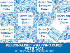 Personalised Happy 8th Birthday Wrapping paper - Blue Gift wrap with number 8