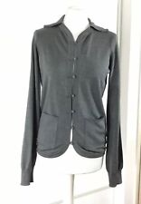 Armani Grey Silk Button Pockets Knit Knitted Cardigan Sweater Jumper 46 XL 14