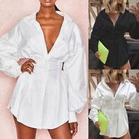 Femme Couleur Unie Revers Robe Casual Manches Longues Boutonné Slim Shirts Robe