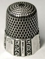 """Antique Simons Bros. Sterling Silver Thimble  """"Fluted Octagon""""  Dtd 1889"""