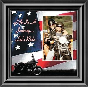 Life's a Journey, Harley Davidson Motorcycle with American Flag, 10X10 9751B
