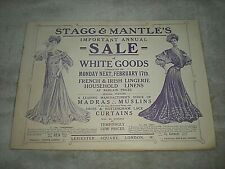 STAGG & MANTLE ILLUSTRATED CATALOGUE circa 1900. LONDON DEPARTMENT STORE. SCARCE