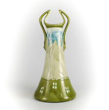 Minton Majolica Pottery Green Twin Handled Vase, Secessionist Movement