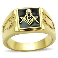 18K GOLD EP MASONIC MASON  MENS RING sz 10 T 1/2 black freemason