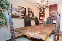 UNIQUE DINING TABLE From SPANISH CASTLE and 6 SPANISH LEATHER CHAIRS