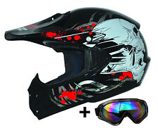 Kids Pro Black S Kinder Motorradhelm Brille ATO Cross Helm MX Crossbrille Enduro