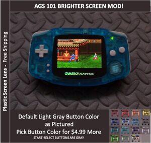 Game Boy Advance  System AGS101 Backlit Mod-Plastic Screen - Crystal Blue