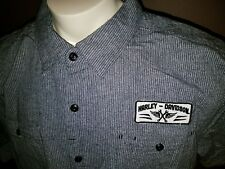New HARLEY DAVIDSON Men's 3XL Slim Fit 2XL Gray S/S Button Front Work Shirt