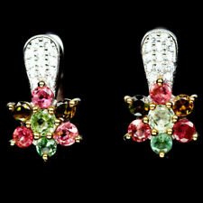 Natural Multi-color TOURMALINE & White CZ Stones Sterling 925 Silver EARRINGS