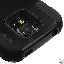 Samsung Galaxy S5 Active G870 Hybrid T Stand Case Skin Cover Black Bla