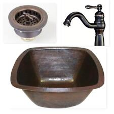 "15"" Square Copper Bar Prep Sink with 3.5"" Strainer Drain and ORB Faucet"