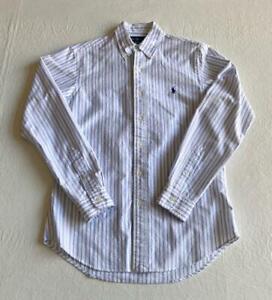 POLO RALPH LAUREN Dress Shirt Men's Small White with Blue Stripes Long Sleeved