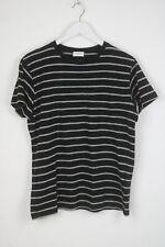 Saint Laurent Hombre Grande a Rayas Bolsillo Parche Manga Corta Camiseta 5630_