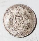 KING GEORGE V 1921 Australian SIXPENCE Pre-Decimal Australia Silver Coin KGV