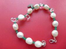 bracelet perles d'eau douce fermoir argent massif 925 poinçon  9gr 19cm tbé