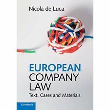 European Company Law Nicola de Luca Paperback Cambridge Univer. 9781316635377 VG