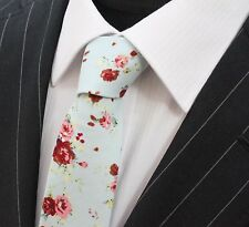 Tie Neck tie Slim Pale Blue with Multi Floral Quality Cotton T6039